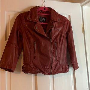 3/4 sleeve red leather jacket